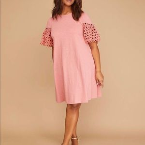 Blush crochet sleeve swing dress